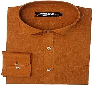 Punekar Cotton Formal Shirts for Mens (Golden, 44)