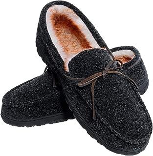 Men's Moccasin Slippers Warm Comfortable Memory Foam Plush Lining Anti Slip Indoor Outdoor