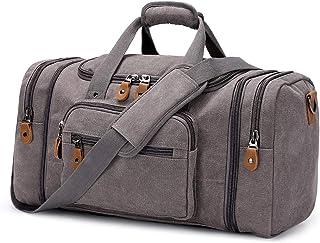 Plambag Canvas Duffle Bag for Travel, Oversized Duffel Overnight Weekend Bag(Grey)
