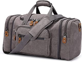 Canvas Duffle Bag for Travel, Oversized Duffel Overnight Weekend Bag(Gray)