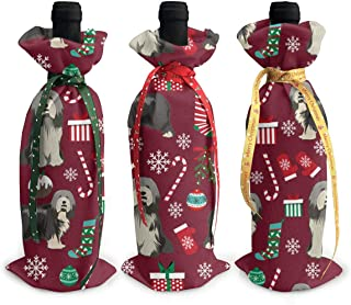 Bearded Collie Fabric - Collie Dog Fabric, Bearded Collie Fabric, Dog Fabric -burgundy Christmas Ring 3Pcs Wine Bottle Cover Decoration Cover Bags for Christmas,Reusable Wine Bags