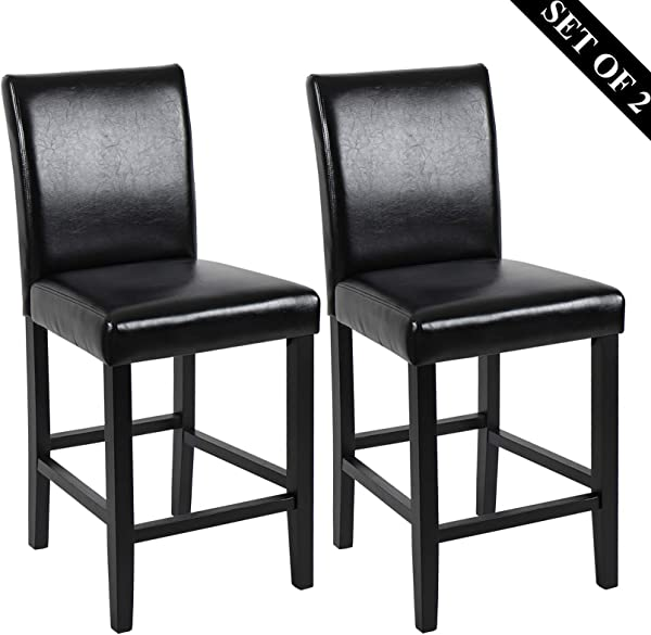 GOTMINSI Set Of 2 Classic 24 Counter Height Stools Upholstered Bar Stools With Solid Wood Legs And Black Leather PU Black
