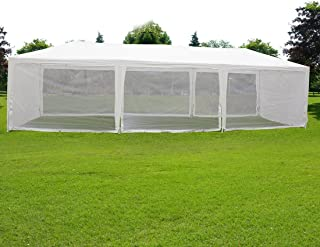 Quictent 10X30 Outdoor Canopy Gazebo Party Wedding Tent Screen House Sun Shade Shelter with Fully Enclosed Mesh Side Wall (10'x30', White)