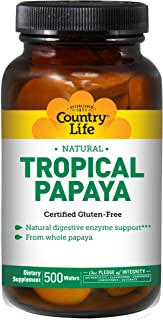 Country Life - Natural Tropical Papaya Enzyme - 500 Chewable Wafers
