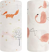 Baby Swaddle Blanket, Bamboo Muslin Swaddle Blanket for Girls & Boys,Soft Silky Receiving Swaddle Wrap 70% Bamboo+ 30% Cotton, Large 47 x 47 inches, Set of 2 - Fox & Flamingo