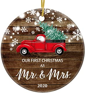 Best JUPPE Our First Christmas As Mr & Mrs 2020 Decoration Mr & Mrs Newlywed Ornament Romantic Couples Gift (Red Car-3) Review