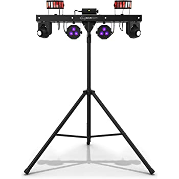 CHAUVET DJ Gig Bar Move 5-in-1 LED Lighting System with 2 Moving Heads Derbies, Washes, Laser, and Strobe Effects Pre-Mounted, Black