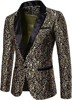 Sodossny-AU Men's Dress Jacquard Suit Notched Lapel Slim Fit Blazer Dress Suit
