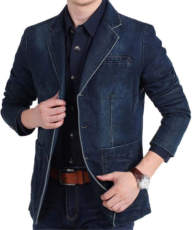 Fashion Mens Denim Blazer Spring Autumn Male Slim Fit Casual Jeans Suit Jacket Men Blazer Coat