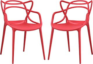 Modway Entangled Modern Molded Plastic Two Kitchen and Dining Room Arm Chairs in Red - Fully Assembled