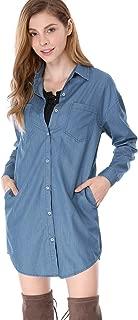 Women's Denim Shirt Dresses Long Sleeve Loose Button Up Jean Dress