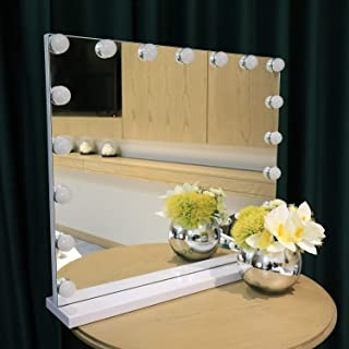 COMMODA Hollywood Style Lighted Vanity Makeup Mirror Dimmable LED Bulbs Whole Metal Frame and Backing Makeup Cosmetic Mirrors (White)