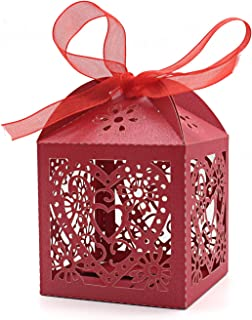 KEIVA 70 Pack Love Heart Laser Cut Wedding Party Favor Box Candy Bag Chocolate Gift Boxes Bridal Birthday Shower Bomboniere with Ribbons (Red, 70)