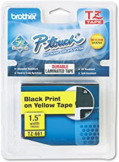 "P-Touch Series Standard Adhesive Laminated Labeling Tape Size: 1.5"" W x 314.4"" D, Color: Black on Yellow"