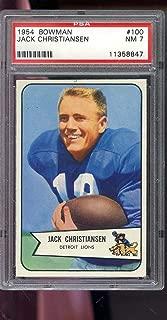 1954 Bowman #100 Jack Christiansen Detroit Lions NM PSA 7 Graded Football Card