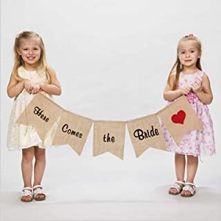 """vLoveLife """"Here Comes the Bride"""" Burlap Banner Sign With Red Heart Wedding Flower Children Ceremony Decoration Decor"""
