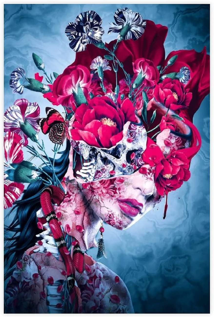 Flowers And Skulls Life Death Queen Poster Sales Art Wall D Direct stock discount Canvas