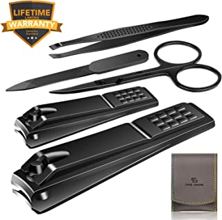 Nail Clippers Set Stainless Steel Nail Cutter Pedicure Kit 5 Piece Nail File Sharp Nail Scissors Manicure Fingernails & To...