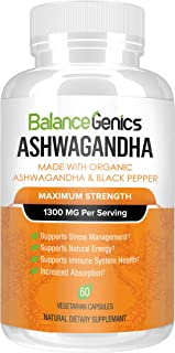 Ashwagandha, Organic Ashwagandha Root (1300mg) - Anti-Anxiety Supplement for Stress Relief, Mood, Thyroid Support – Natural Energy Booster & Mood Enhancer - 60 Veggie Capsules