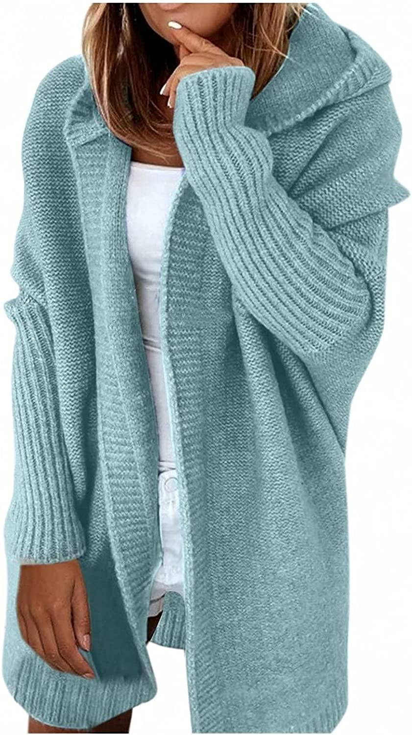 Womens Open Front Oversized Cardigan Hoodie Casual Ribbed Long Sleeve Chunky Sweater Outerwear Coat with Pockets