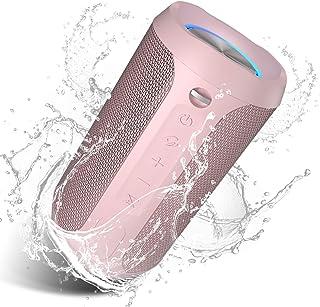EDUPLINK - Altavoz Bluetooth inalámbrico de 24 W con luces pulsantes, IPX7, a prueba de agua, altavoz Bluetooth portátil c...