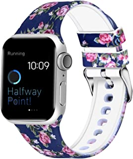 WISHTA Compatible with Apple Watch Band 38mm 42mm 40mm 44mm, Women Men Pattern Printed Rubber Straps Replacement Sports Fan Wristbands for iWatch Series 4/3/2/1