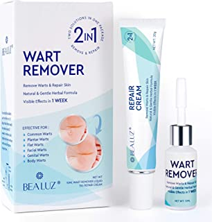 Natural Liquid Wart Remover by BEALUZ: Maximum Strength, Easy & Quick Results for Plantar, Common, Genital Warts