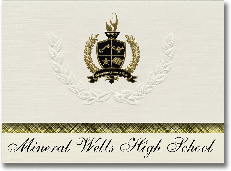 Signature-Announcements Mineral Wells High School (Mineral Wells, TX) Abschlussankündigungen, Präsidential-Stil, Grundpaket mit 25 Goldfarbenen und schwarzen metallischen Folienversiegelungen B0795VB7J4 | Schön und charmant