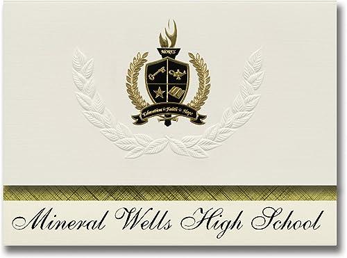 Signature Announcements Mineral Wells High School (Mineral Wells, TX) Abschlussankündigungen, Pr dential-Stil, Elite-Paket mit 25 Goldfarbenen und Schwarzn metallischen Folienversiegelungen