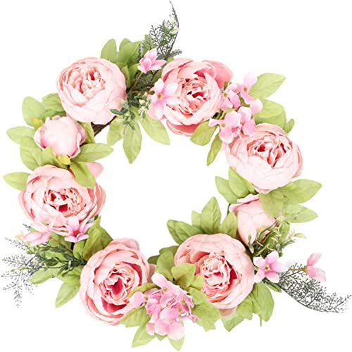 """lowest Artificial Peony Rose Flower Wreath - Pink/White Flower Door Wreath online with Green Leaves Spring Wreath online sale Valentine's Day, Wedding, Wall, Home Decor, 17"""" online sale"""