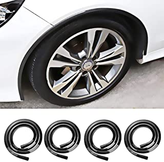 Mrcartool Glossy Carbon Wheel Well Fender Molding Trim Kit,Universal 4Pcs Self-adhesive Automotive Body Flare Wheel Arch Waterproof Protector for Car Trunk SUV