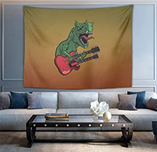 NiYoung Hippie Tapestry, Dinosaurs Electric Guitar Tapestries, Indian Dorm Decor, Psychedelic Tapestry Wall Hanging Ethnic Decorative 60x70 inches