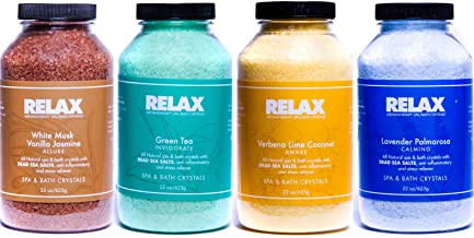 Escape Aromatherapy Bath Crystals -Pack of 4, 22 Oz- All Natural Dead Sea Salts - Aroma Therapy For Hottub, Spa & Whirlpool