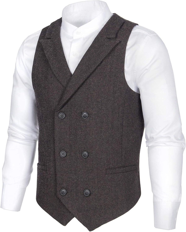 Outstanding BOTVELA Max 62% OFF Mens Wool Blend Double Vest Herringbone Tw Breasted Suit