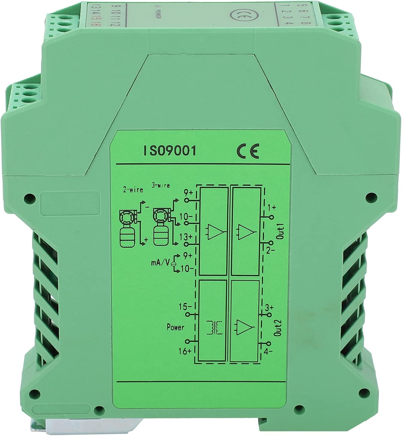Eujgoov DC Current Signal Isolator, DIN Rail Mount 1?in 2?out 0?5V to 0?10V GLG Voltage Transmitter PLC Detect Signal Conditioner
