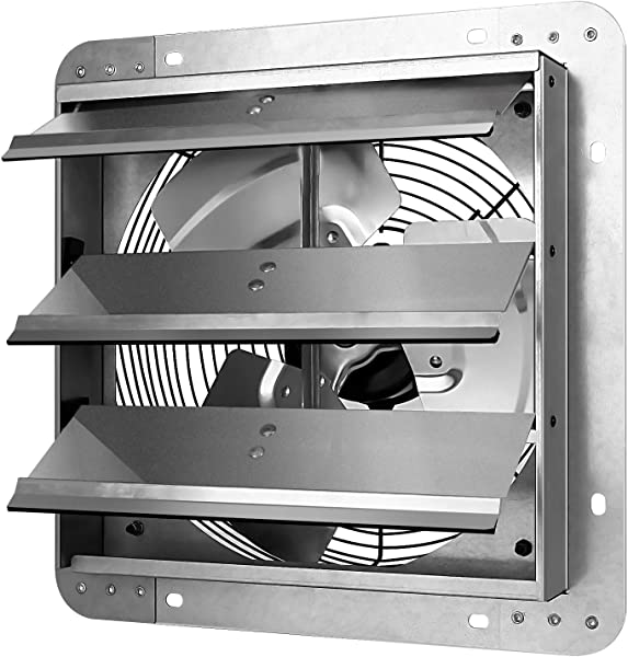 Simple Deluxe 12 Inch Shutter Exhaust Fan Aluminum High Speed Silver