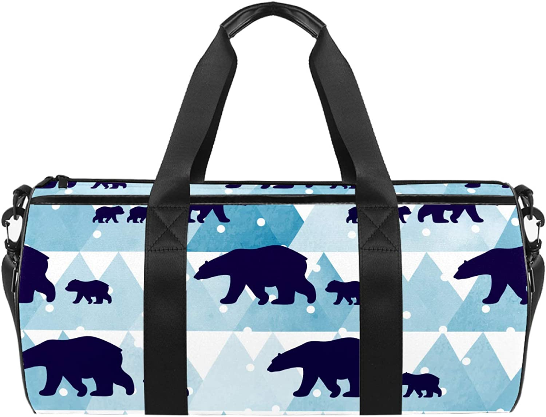 Winter Polar New item Bear Sports Gym Bag Dealing full price reduction Duffel Cylindrical bag Travel w