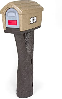 Simplay3 Rustic Home Plastic Residential Cabin Mailbox & Post Mount Combo Kit with 2 Access Doors - Sandstone