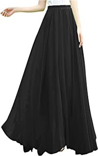 Women Ladies Full/Ankle Length Elastic Retro Maxi Chiffon...