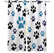 HouseLookHome Window Blind Curtain Yorkie Kids Blackout Curtains Cute Dog Sketch Flowers for Kitchen Bedroom Bathroom Windows Rod Pocket Panel 23 W x 63 L