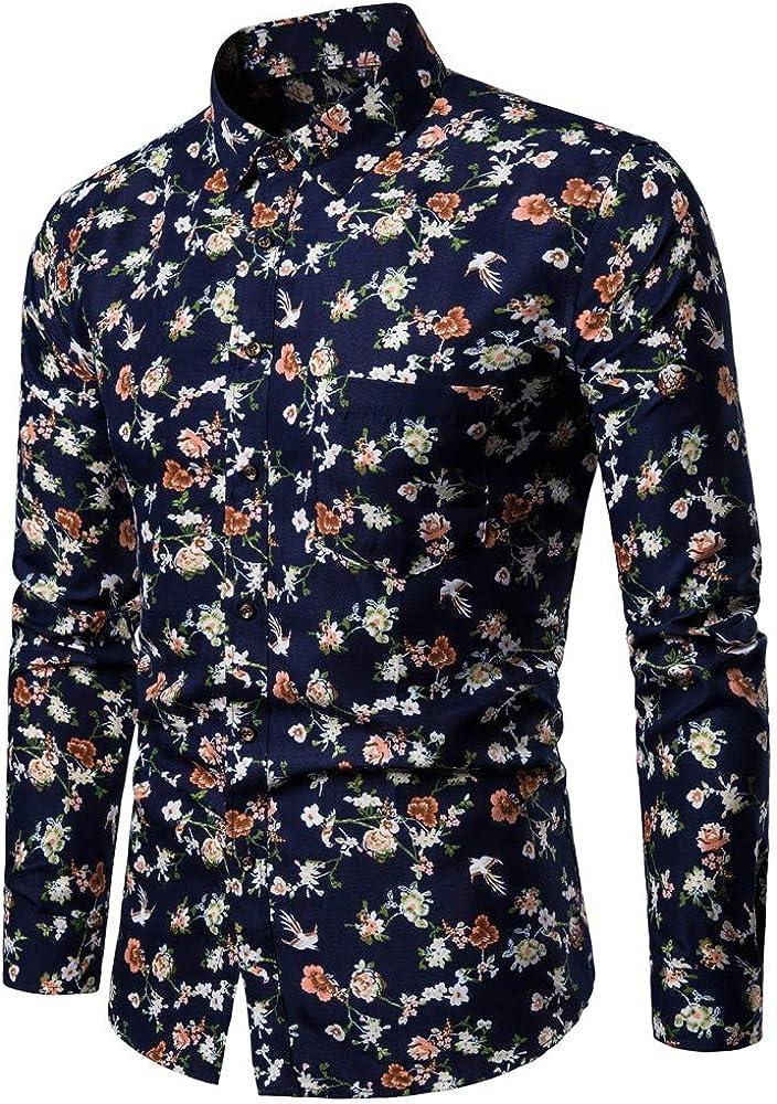 MODOQO Men's Dress Shirt Casual Button Down Floral Print Loose Fit Long Sleeve Shirt