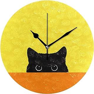 Chovy 掛け時計 置き時計 北欧 おしゃれ かわいい サイレント 連続秒針 壁掛け時計 インテリア イエロー 黄色 猫 黒猫 部屋装飾 子供部屋 プレゼント