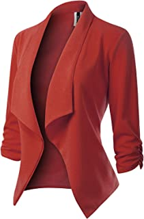 00f1da33d68 MixMatchy Women s  Made in USA  Solid Formal Style Open Front Long Sleeves  Blazer (