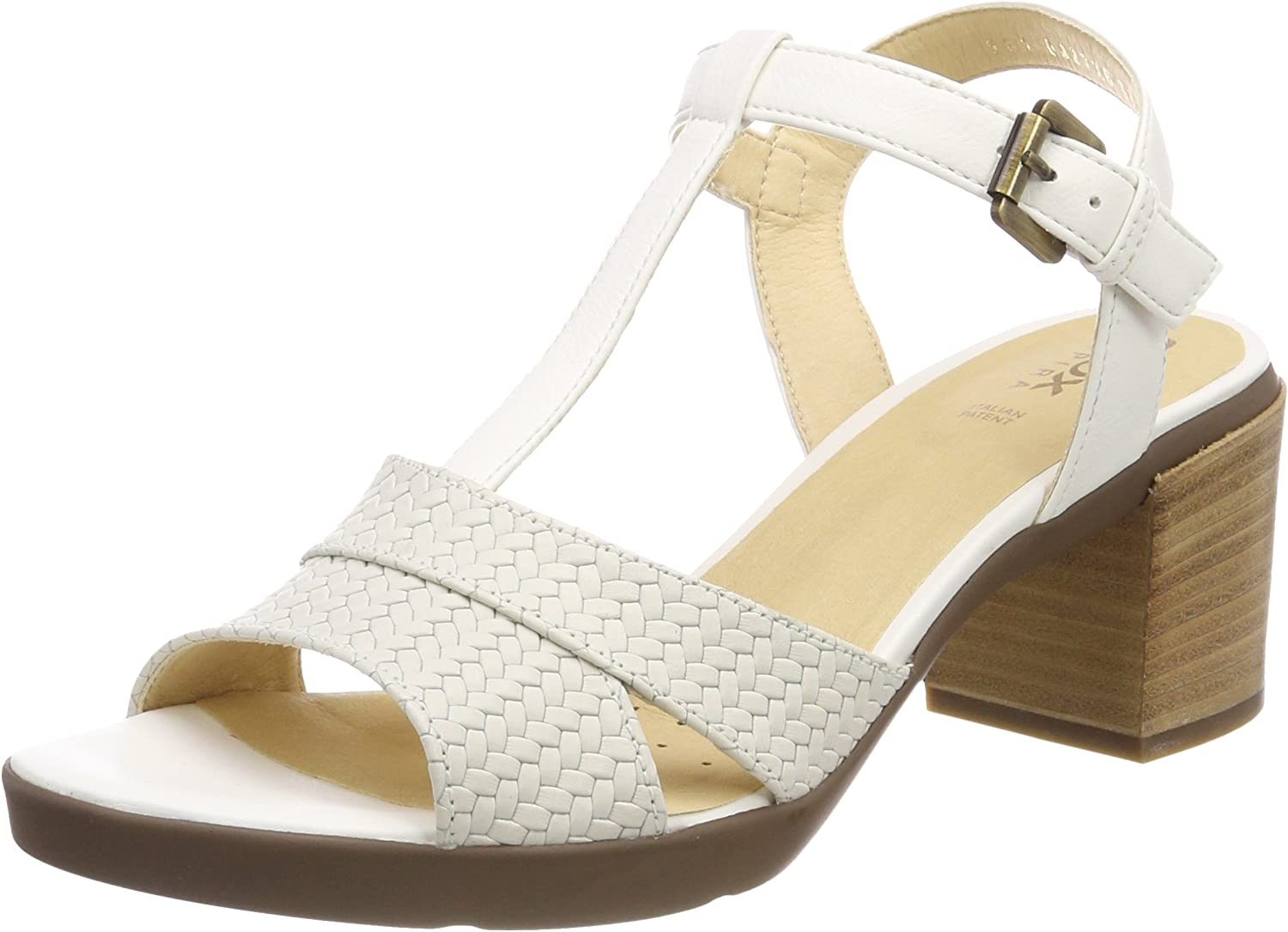 Geox Sandal Woman with Medium Heel White Article dirty-D827XB 06RBC C1002 D Annya M.S.B. New Spring Summer Collection 2018