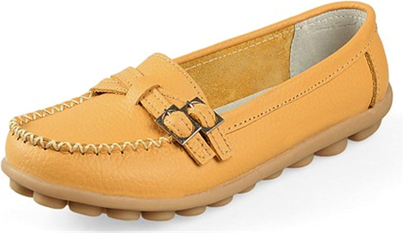 Robert Reyna Fashion Woman Leather Women Flats 8 colors Buckle Loafers Slip On Women's Flat Plus Size