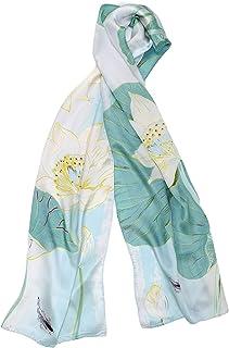 MayTree Foulard di seta da donna colorato in 100% seta di talpa, loto 55 x 175 cm