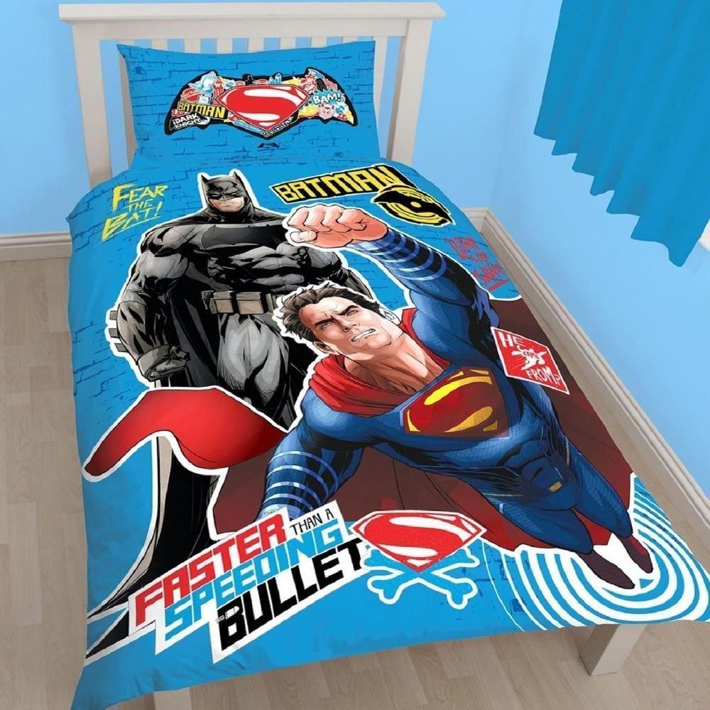 Juego de edredón y cortinas de DC Batman Superman para niños