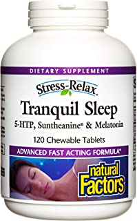Stress-Relax Chewable Tranquil Sleep by Natural Factors, Sleep Aid, Tropical Fruit Flavor, 120 tablets (60 servings)