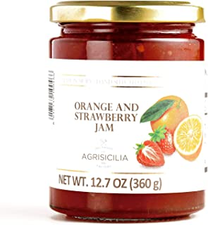 Agrisicilia Sicilian Jam and Marmalade 12.7oz Made in Italy (Orange Strawberry, 2 Pack)