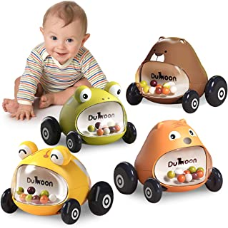 GILOBABY Cars Toys 4 Packs Push and Go Cars Animals Cartoon Inertia Vehicle Playset Friction Powered Cars with Rattle Educ...